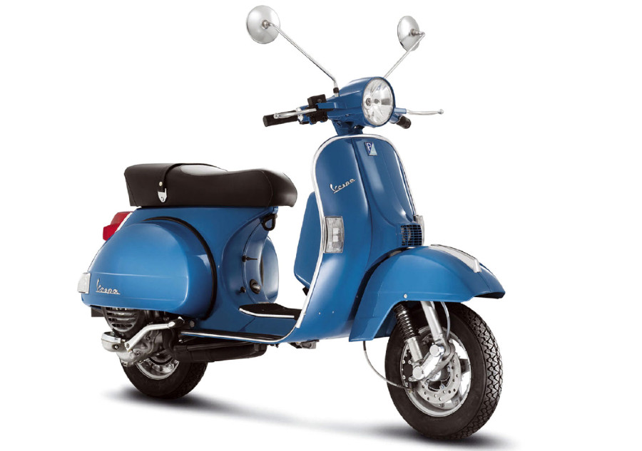 Blue Vespa PX150 from front, left