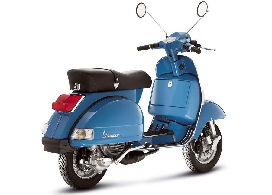 Blue Vespa PX 150 from rear, side