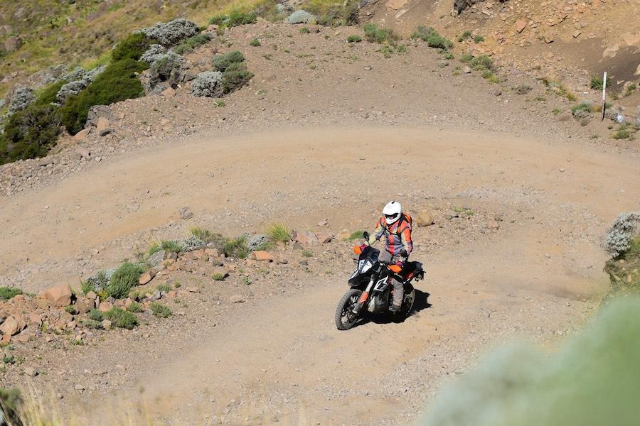 A KTM 790 AR riding up Sani pass.