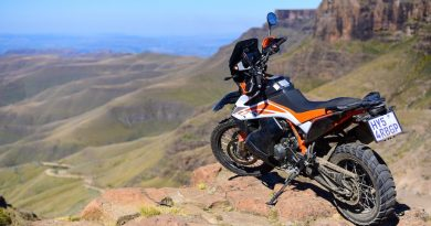 The KTM 790 AR perched above Sani Pass.