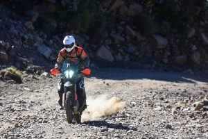 The KTM 790 Adventure R and rider on Sani pass