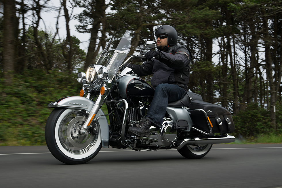 A black-and-silver 2015 Harley-Davidson Road King Classic