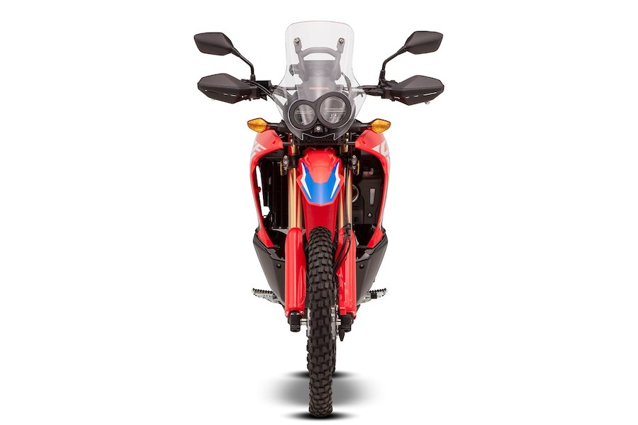 A full-frontal shot of the CRF 300 Rally