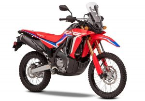 A front-three-quarter shot of the The 2021 Honda CRF 300 Rally