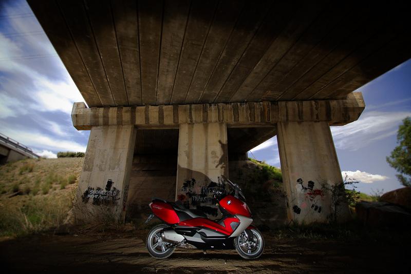 BMW maxi-scooter under a bridge near Bloemfontein