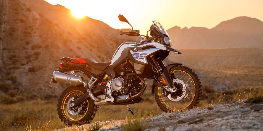 A BMW 850GS at sunset