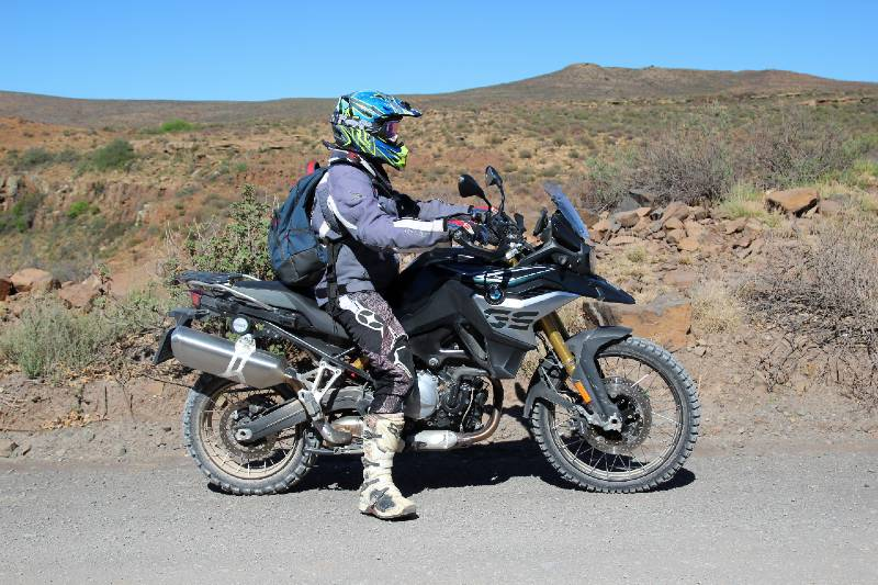 Photojournalist and guide Willem van der Berg on the BMW F 850 GS, near Carnarvon.