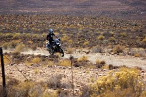 Riding a farm road on the BMW F 850 GS, somewhere in the Karoo.