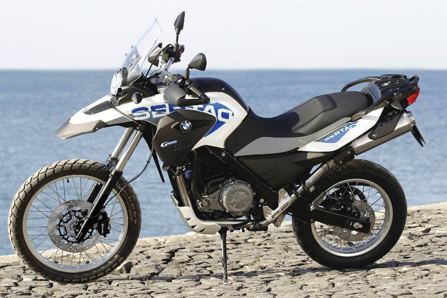 BMW G 650 GS Sertao with ocean in background