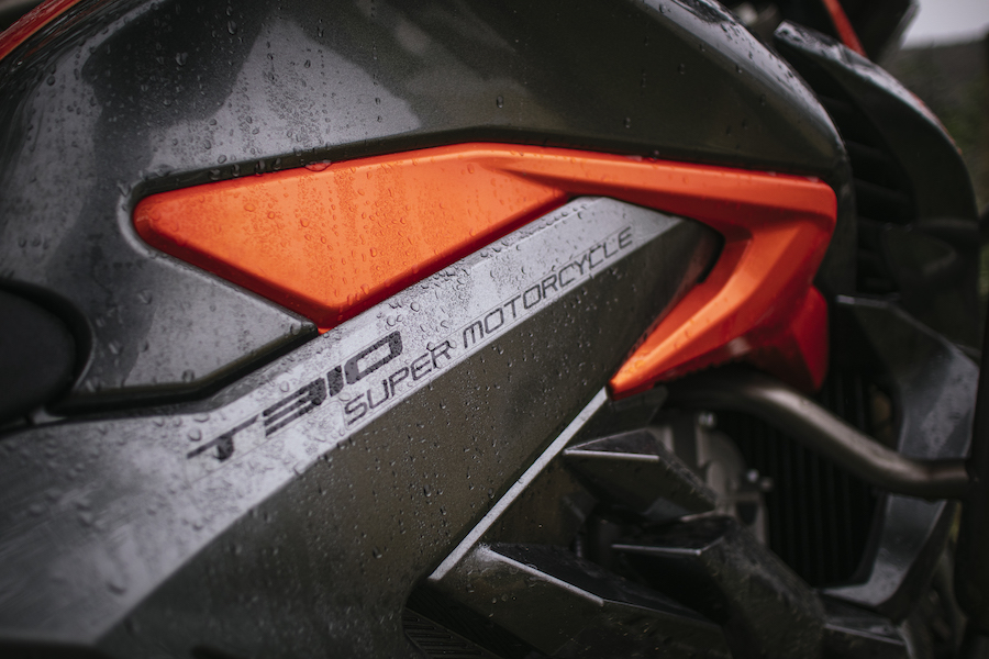 Close-up detail of an orange-coloured Zontes 310T