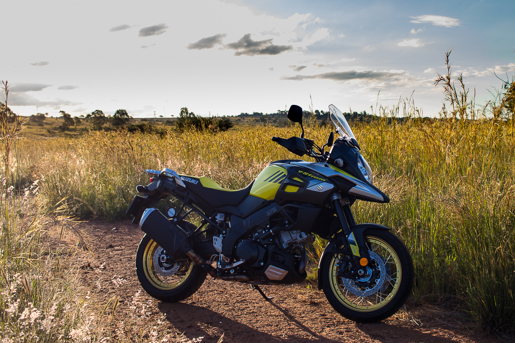 A beautiful semi-profile shot of the V-Strom 1000 XT in the late afternoon sun.