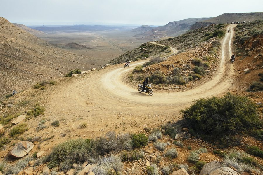 Bikers riding up Gannaga Pass in the Tankwa Karoo