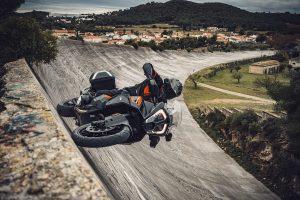 KTM Super Adventure S on a banked oval