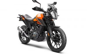 A front-3-quarter view of the KTM 390 Adventure