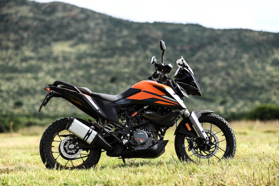 Right-side profile of the KTM 390 Adventure