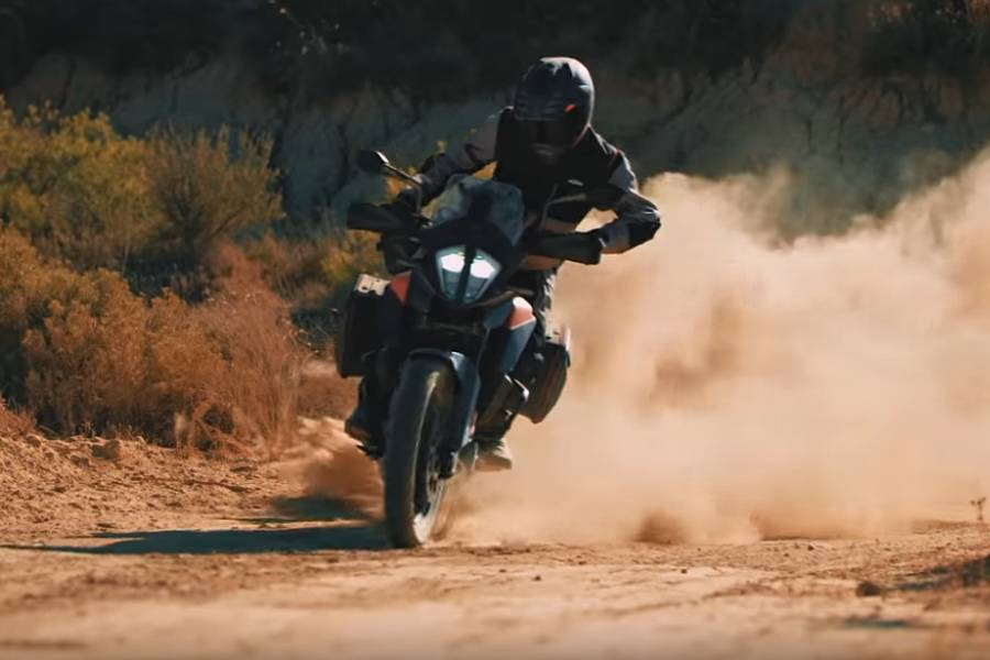 KTM 390 Adventure leaving a trail of dust