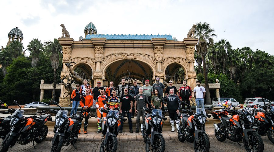 A bunch of moto journalists ready to ride KTM 390 Adventure bikes