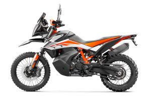 A studio image of the KTM 790 Adventure R, shot from the left