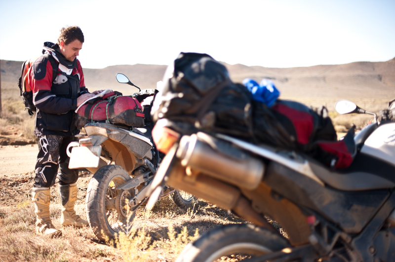 Willem van der Berg with two BMW adventure bikes