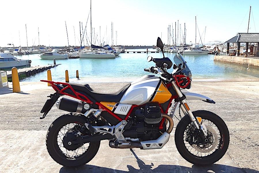 V85 TT at a harbour
