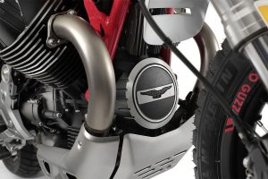 The V85 TT's aluminium belly plate
