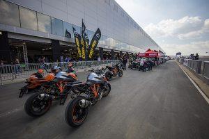 Naked KTMs in Kyalami's pit lane
