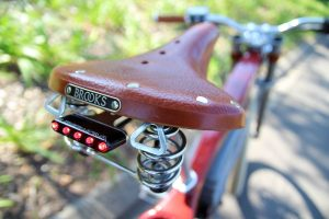 Brooks saddle and rear lights on the Tracker