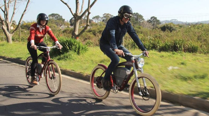 The writer and his wife on Vintage Electric e-bikes