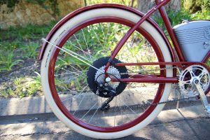 Rear wheel of Vintage Electric Cafe