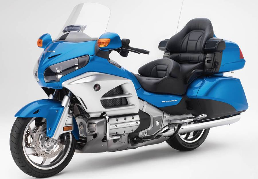 A Gold Wing in blue with its comfy seats shown