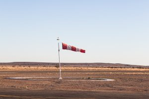 A windsock blows in the breeze