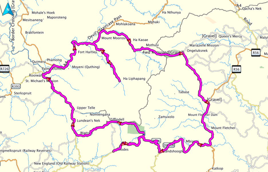 South Africa Lesotho Adventure Bike Route Map