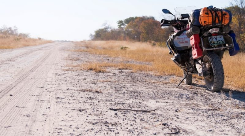 A BMW boxer adventure bike on a lonesome road in southern Africa