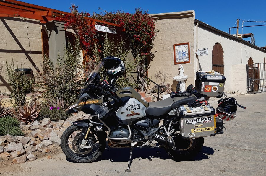 A BMW GS motorcycle at Boplaas Cellars, Calitzdorp